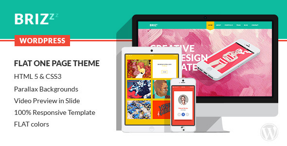 DESCRIPTION BRIZZis a Modern and Creative premium WordPress Theme. Design Theme is made in a beautiful FLAT style. It is suitable for Personal Portfolio,