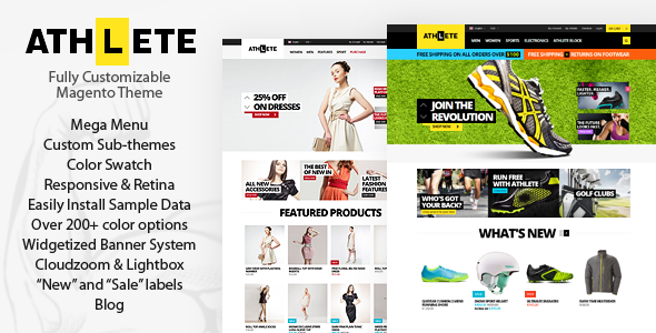 Athlete is extremely powerful and flexible premium magento theme with responsive & retina ready design. This theme is perfect for any type of store and com