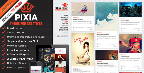 Pixia Wordpress Theme - Creative WordPress