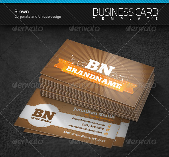Brown Business Card - Retro/Vintage Business Cards