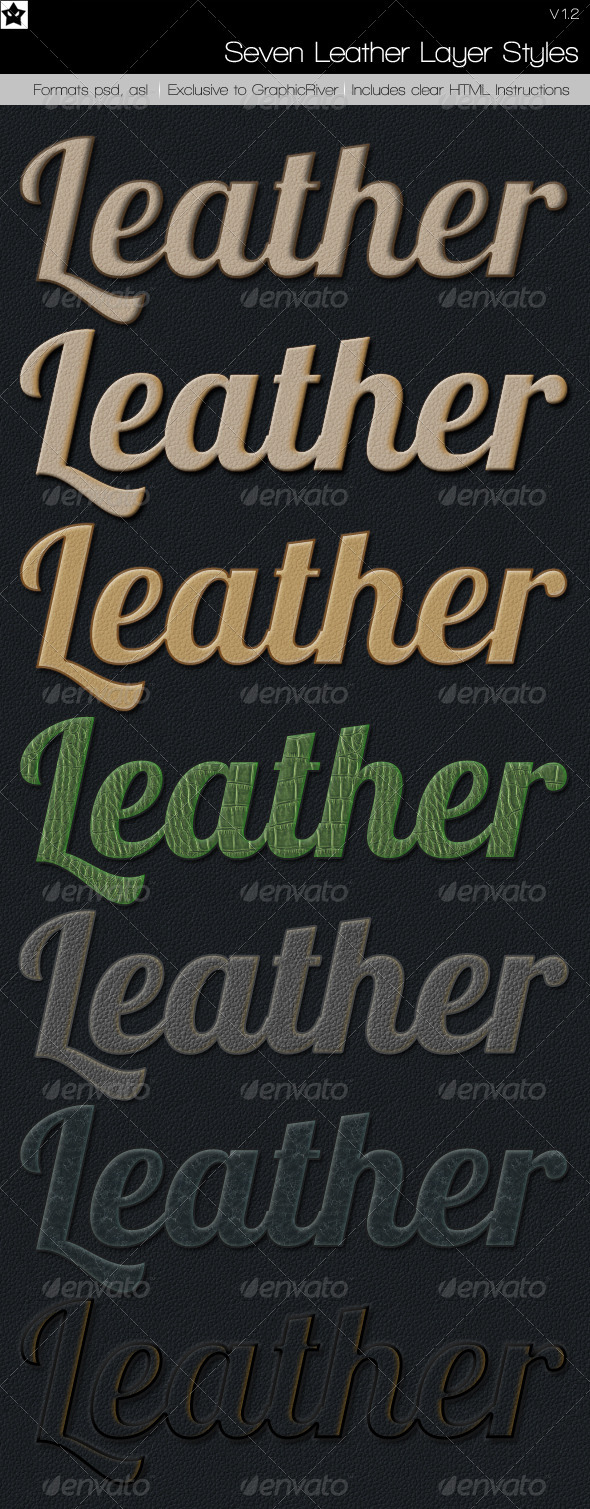 GraphicRiver 7 Leather Layer Styles 762418