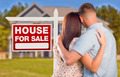 For Sale Real Estate Sign and Affectionate Military Couple Looking at Nice New House. - PhotoDune Item for Sale
