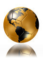 gold soccer ball with world map america - PhotoDune Item for Sale