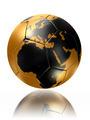gold soccer ball globe world map europe africa - PhotoDune Item for Sale