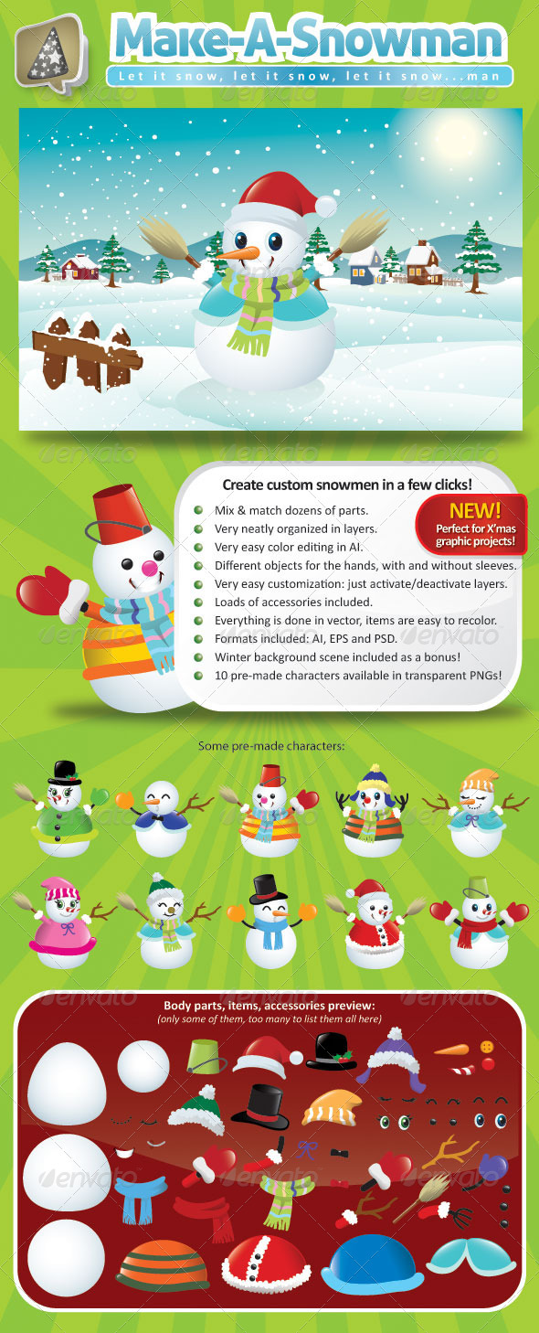 GraphicRiver Vector Snowman Creation Pack 761167