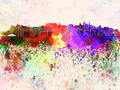 Edinburgh skyline in watercolor background - PhotoDune Item for Sale
