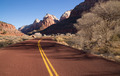 Road Sunrise High Mountain Buttes Zion National Park Desert SW - PhotoDune Item for Sale
