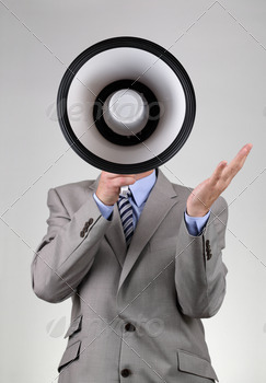 Businessman shouting through a megaphone - PhotoDune Item for Sale