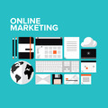 Online marketing flat icons set - PhotoDune Item for Sale