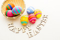 Colourful design easter egg with wooden word - PhotoDune Item for Sale