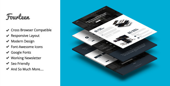 ThemeForest Fourteen Responsive Landing Page Template 7414677