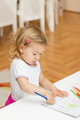 LIttle Girl Drawing with Colored Crayons  - PhotoDune Item for Sale