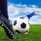 foot shooting soccer ball to goal, penalty - PhotoDune Item for Sale