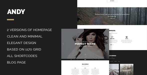 Andy is an elegant and stylish onepage PSD with a focus on clean, subtle design elements. Perfectly suits for photographers, freelancers, design agencies, crea