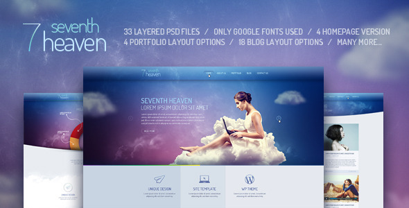 Seventh Heaven — PSD Template - PSD Templates