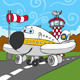 Airplane on Airstrip and Control Tower - GraphicRiver Item for Sale