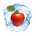 red apple with leaves and water splash isolated on white - PhotoDune Item for Sale