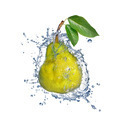 yellow pear with water splash isolated on white - PhotoDune Item for Sale
