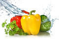 red, yellow, green pepper and parsley with water splash isolated - PhotoDune Item for Sale