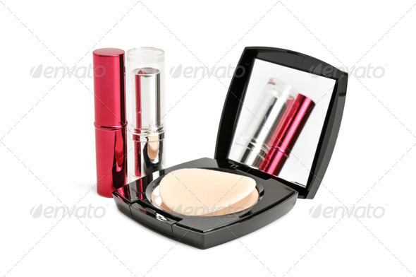 face powder and lipstick - Stock Photo - Images