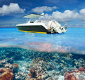 Beach and motor boat with coral reef underwater view - PhotoDune Item for Sale