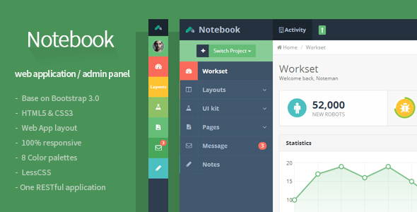 Notebook - Web App and Admin Template by Flatfull