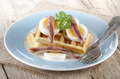 waffle with cooked egg and anchovies - PhotoDune Item for Sale