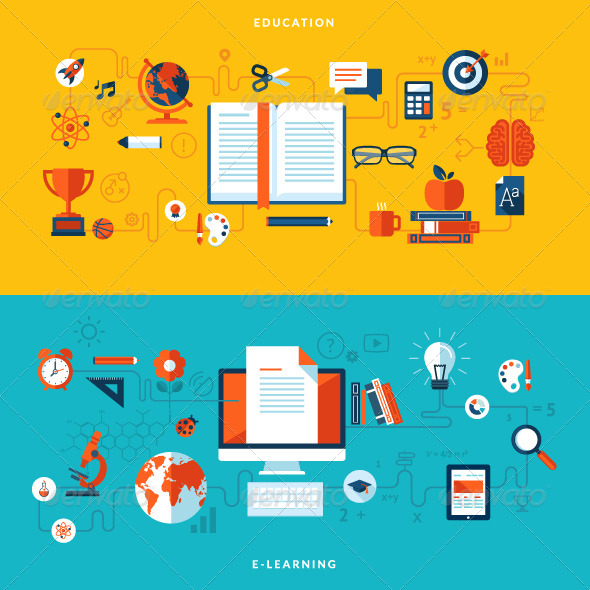 GraphicRiver Flat Design Concepts for Education 7424356
