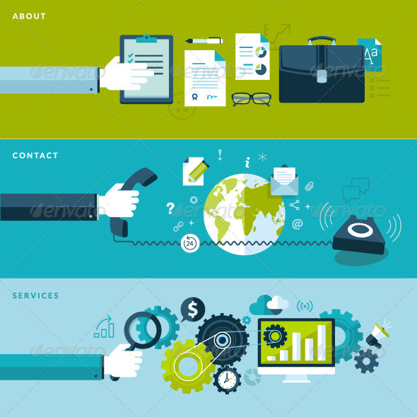 GraphicRiver Set of Flat Design Concepts for Business 7424377