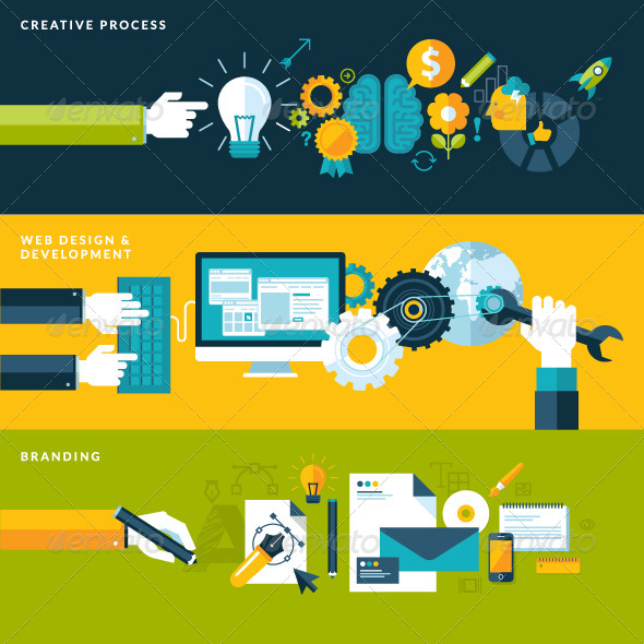 GraphicRiver Set of Flat Design Concepts for Design Development 7424400