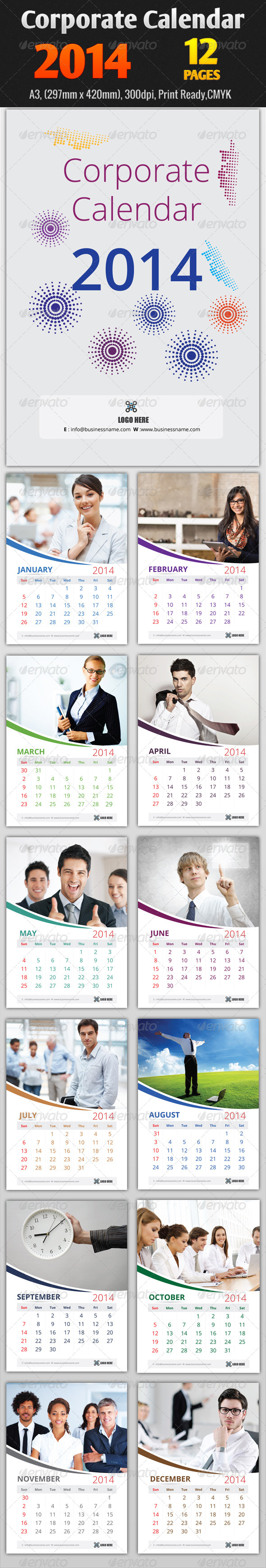 Corporate Calendar 2014 Templates - Calendars Stationery