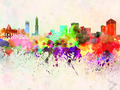 Genoa skyline in watercolor background - PhotoDune Item for Sale
