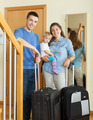 family of three with child together with luggage - PhotoDune Item for Sale