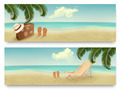 Two retro summer vacation banners. - PhotoDune Item for Sale