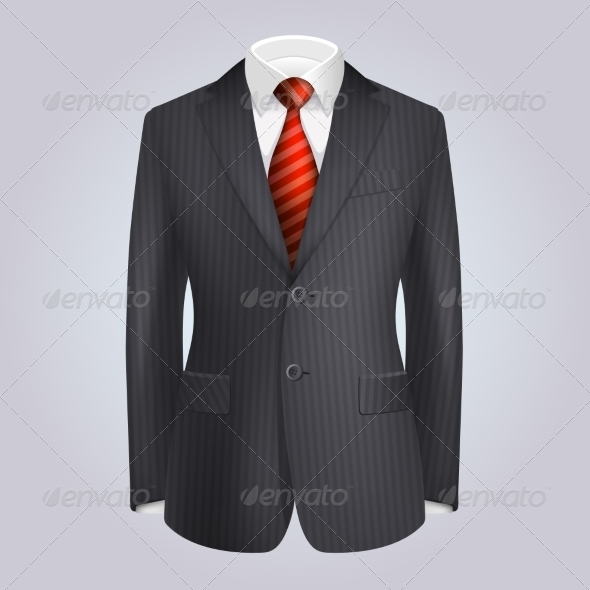 GraphicRiver Male Clothing Dark Striped Suit with Red Tie 7440973