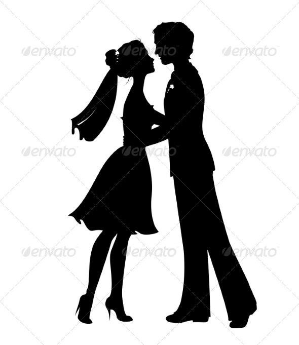 GraphicRiver Silhouettes of Bride and Groom 7441327