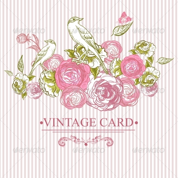 GraphicRiver Vintage Floral Card with Birds and Butterflies 7441884