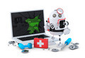 Medic Robot. Laptop repair concept. - PhotoDune Item for Sale