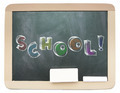 Blackboard with sketchy colorful School word written on it - PhotoDune Item for Sale