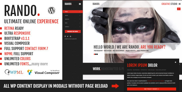 ThemeForest Rando One Page Ajax Based Creative WP Theme 7446539