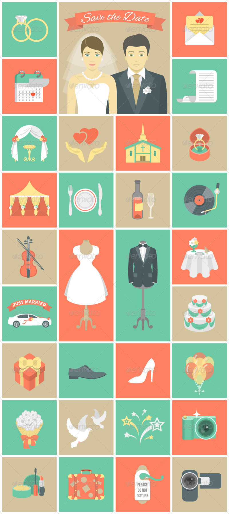 Wedding Flat Icons