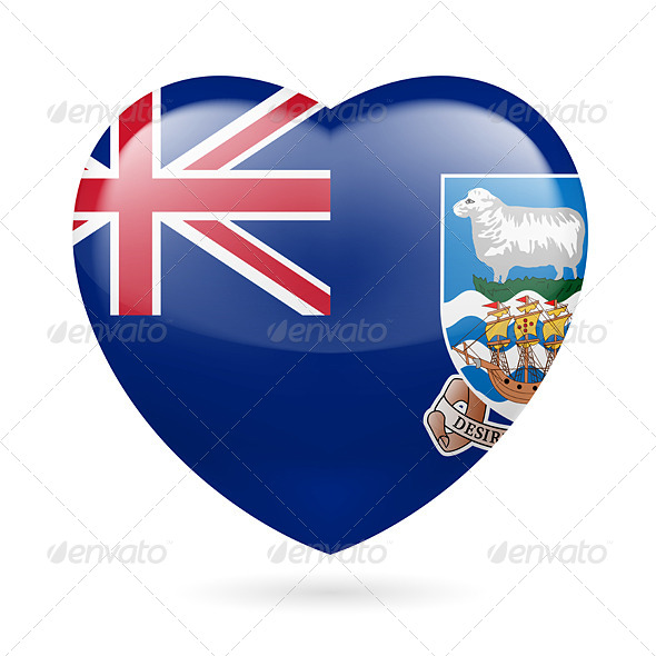 GraphicRiver Heart Icon of Falkland Islands 7448670