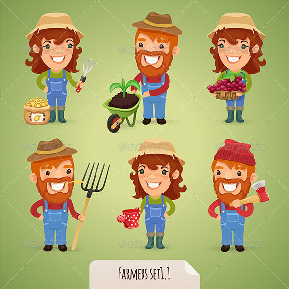 GraphicRiver Farmers Cartoon Characters Set 1.1 7414459