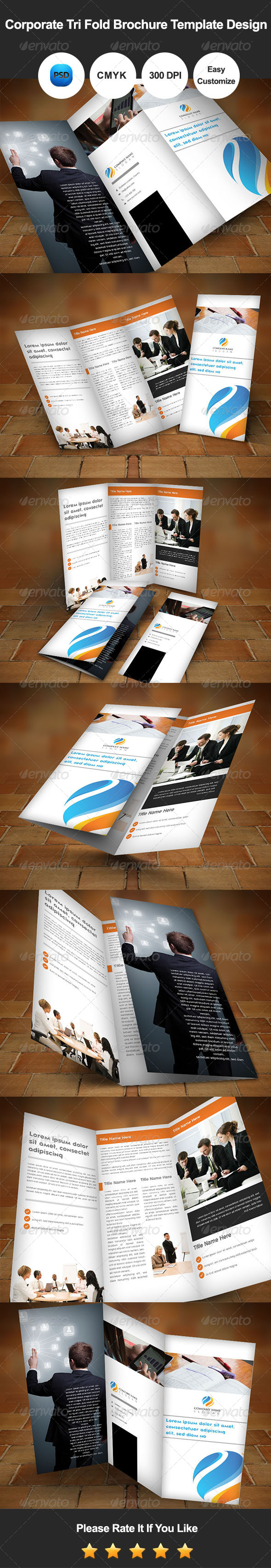 GraphicRiver Corporate Tri Fold Brochure Template Design 7450124