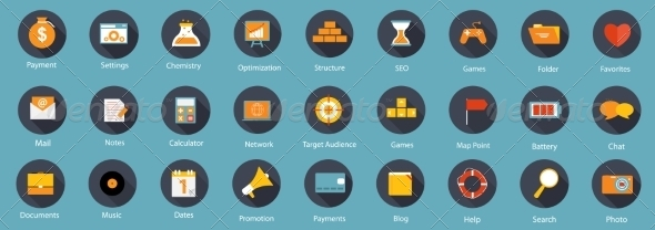 GraphicRiver Set of Flat Icons Illustration 7450301