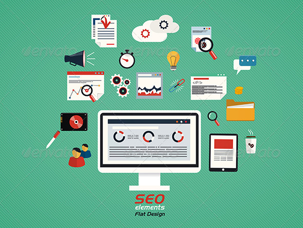 GraphicRiver Flat Concept of SEO Process 7450731