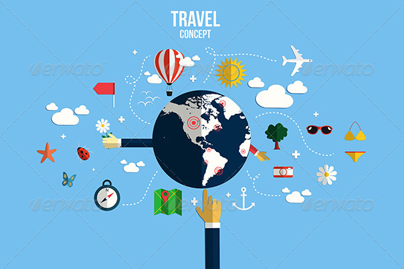 GraphicRiver Modern Vector Illustration Icons Set of Traveling 7451042