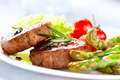 Grilled Beef Steak Meat with Asparagus and Cherry Tomato - PhotoDune Item for Sale
