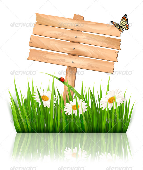 GraphicRiver Sign with Green Grass and Flowers 7451866