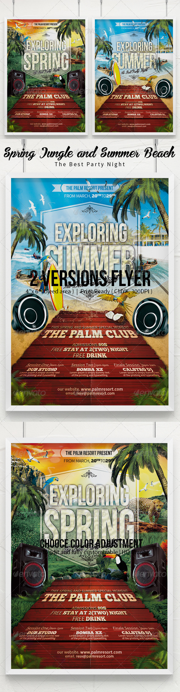 GraphicRiver Exploring Spring Break Jungle & Summer Beach Flyer 7454059